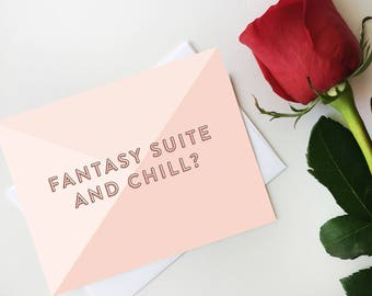Fanatsy Suite and Chill? Notecard, Digital Postcard, Bachelor Fantasy Suite Card, Bachelorette Card, Digital Download, Printable Postcard