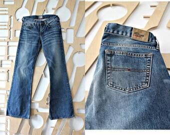 Designer jeans Dark wash Denim pants Casual wear Waist 28 Blue Pants Low waist Hipster Boho Hippie Denim trousers Wide leg trousers Bell