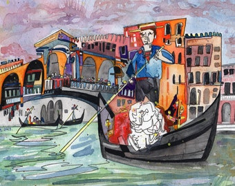 Kissing in Venice - PAiNtBABies - PRINT