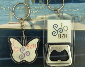 Lot of two Breizh Keychain for him and her hand embroidered