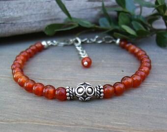 Red Agate Stone Bracelet, Red Bead Bracelet, Bali Sterling Silver, Classic Southwest Style, Adjustable, 4mm Red Gemstone Bracelet, Gift Idea