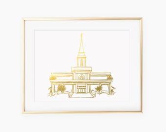 Hand drawn Orlando Florida LDS Temple Gold Foil Art Print