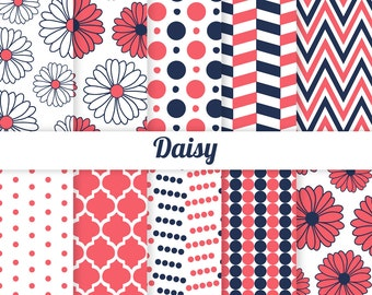 Coral and Navy Digital Paper - Daisy - Daisies