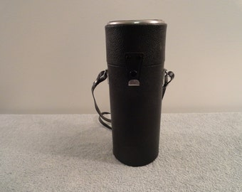 Vintage Black Leather Long Lens Case With Strap By Vivitar