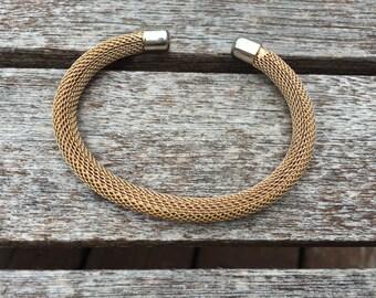 Vintage Gold Mesh Cuff Bracelet 0851