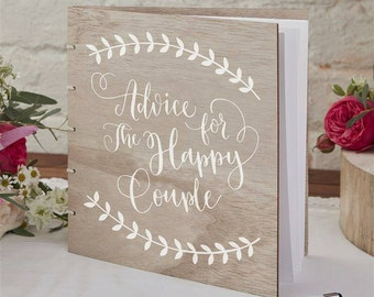 Wooden Advice for the Happy Couple Guest Book