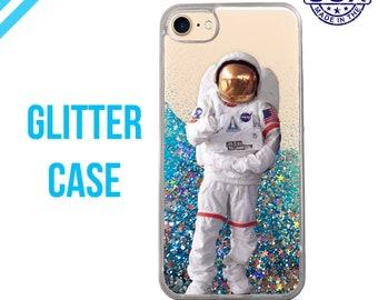 Astronaut Space Suit Space Man Nasa New Liquid Glitter Case Sparkle Clear Case iPhone 6 Plus iPhone 6s iPhone 6s Plus iPhone 7 iPhone 7 Plus