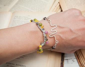 Multicolored knitted bracelet, gemstone bracelet, agate bracelet, bright jewelry, yellow bracelet, multistrand bracelet, gift for her