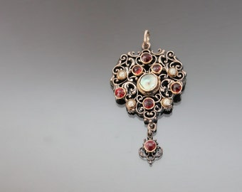 Victorian Silver 800 Austro Hungarian Pendant. Antique Bohemian Garnets, Mother Of Pearl Filigree