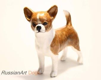 Chihuahua statue, figurine handmade of ceramic, statuette