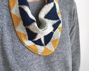 Mercer Beaded Scarf Necklace in Mustard / Navy Blue