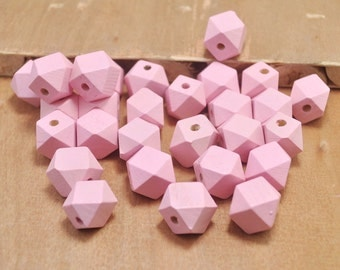 50pcs Pink Wood Beads,Polygonal 15mm Hand painted Beads, Make jewellery for selling,14 Hedron Geometric Natural Wood Beads.