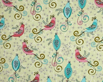 Bird Birds Beautiful Chick A Doodle Green Cotton Fabric from Soul Blossom collection by Cherry Guidry for Contempo by Benartex