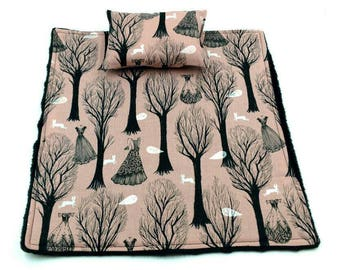 Pink and black dresses/trees/ghosts blanket and pillow for reptiles/beardie/bearded dragon/small pet/animal