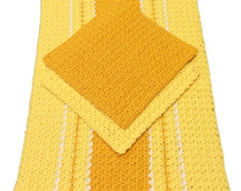 Summer to Autumn Colors Crochet Dish Towel & Dishcloths, Sold as Set or Individually, Kitchen Towel, Dishcloths