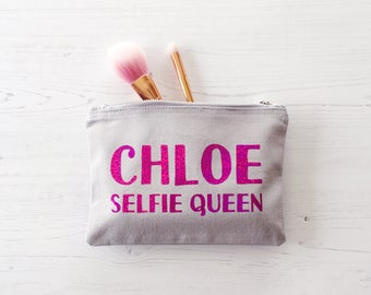 Personalised Wash Bag, Personalized Wash Bag, make up bag, Mother's Day Gift, selfie queen gift, gift for Mum, toiletry bag, gift for her