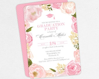 Graduation Invitation, Graduation Announcement, Printable Invitation, Invitation PDF, DIY, Printed, Watercolor Flowers, Gray, Pink, Camille