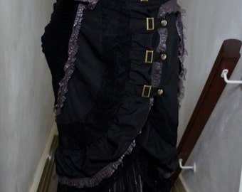 Upcycled Layered Black And Silver Steampunk Long Skirt With Ruffle Ribbon And Lace Detail And Buckle Fronted Over Skirt, Size UK 12, US 8