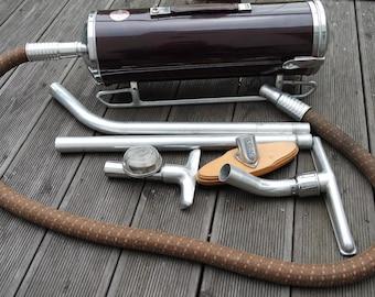Vintage 50s SEV France canister vacuum cleaner + accesories+ case