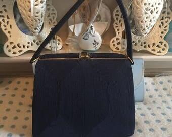 1940s Corde bag in navy blue