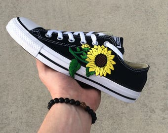 Black Sunflower Embroidery Converse Low Top Customs