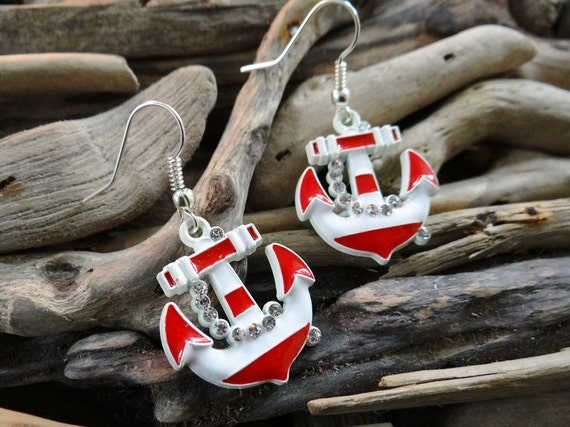 AHOY Nautical Anchor Earrings Crystals Bling Rhinestones Stripe Anchors Silver Sailor Pinup Rockabilly mermaid Red White Dangle Hooks