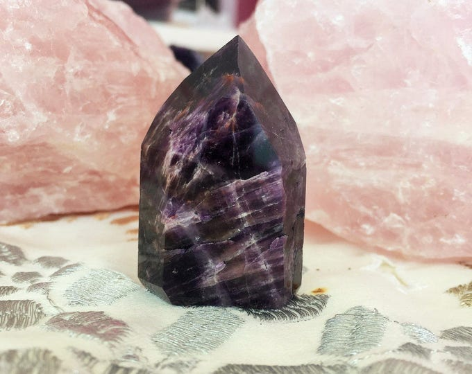 Small Super Seven Crystal POINT w/ Reiki/ Melody's Stone