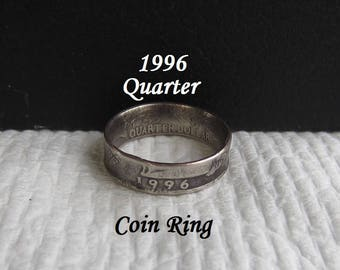 "1996 Quarter HANDMADE Coin Ring ""Sealed"" Special Year? Birthday/Anniversary **FREE SHIPPING**"