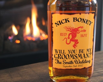 Be My Groomsman Fireball Whiskey bottle label, personalized fireball whiskey bottle label, custom bottle label for fireball whiskey