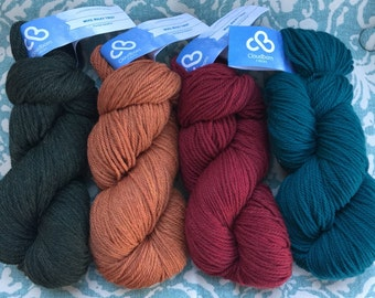 CLOUDBORN Wool 10.99 +.99ea Shipping Chunky Wool Yarn Forest Green Orange Red Teal - 228 Yd 125g Hanks - Quick to Knit Gifts - MSRP 12.00