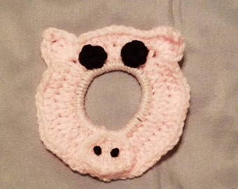Crocheted Pig Camera Buddy Lens Accessory