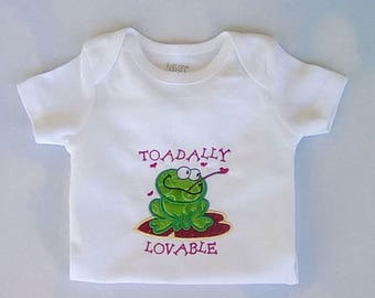 Baby Bodysuit, Toad Applique Bosysuit, Embroidered Toadally Lovable,