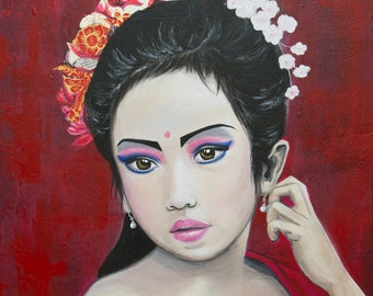 "Table painting little dancer portrait ""Made"" 50 x 60 cm - deco zen red gold"
