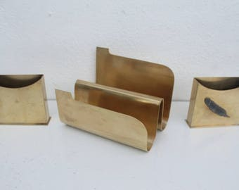 Vintage Solid Brass Mail And Business Card Holder Set Of -3.
