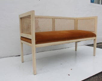 Vintage Wood And Cane Settee.