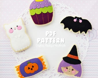Halloween Sugar Cookies PDF Pattern. Digital File. Halloween Soft Toy Pattern. Felt Soft Toy Pattern.