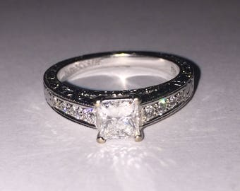 "Princess Cut Diamond ring in 18K White Gold by ""Rosendorffs"" with valuation."