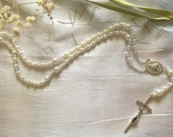 Rosary beads white metal