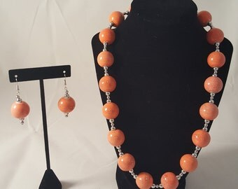 Orange & White Spotted Jewelry Set - Orange Necklace - Orange Earrings - White Spotted Necklace - White Spotted Earrings - Speckled Jewelry