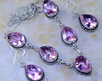 "Pink Topaz Princess Style Necklace and Earrings Set - Necklace is 19 1/2"" long"