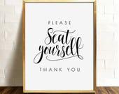 Please seat yourself, Bathroom wall decor, PRINTABLE art, Funny bathroom art, Restaurant decor, Bathroom signs, Bathroom prints, Washroom