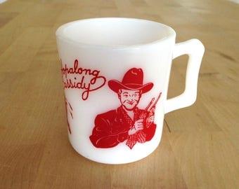 Hopalong Cassidy milk glass mug