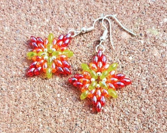 Beautifully colored sunburst earrings with bright colors.