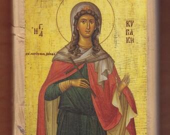 Saint Kyriaki the Great Martyr, Liondas Christos. Christian orthodox icon.FREE SHIPPING