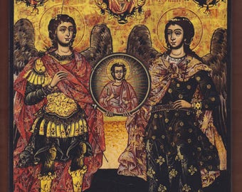 Archangels Michael and Gabriel, 18th century, Unknown Αrtist, Municipal Gallery of Ioannina. Christian orthodox icon.FREE SHIPPING