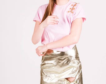 NEW SS17, Rita Gold Ribbon Skirt, Metal Gold Mini Skirt with High Waist and Ribbon Decoration by ILMNE