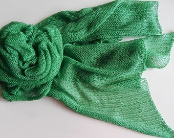 Knitted cotton green scarf, emerald scarf, lace cotton scarf, knitted green wrap, cotton wrap, women's summer scarf, knitted malachite scarf