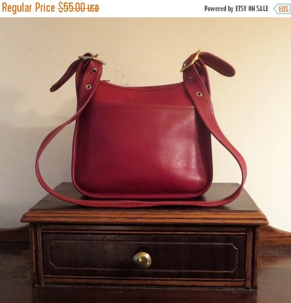 Football Days Sale Striking Unbranded Vintage Red Leather Satchel Crossbody Shoulder Bag With Brass Tone Hardware- EUC