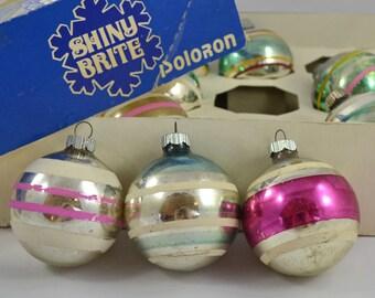 Vintage Shiny Brite Poloron Striped Ball Christmas Ornaments With Box