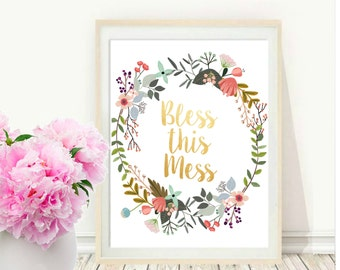 Bless this Mess, Printable Art, Entryway Wall Art, Home Decor, Wall Decor, Instant Download